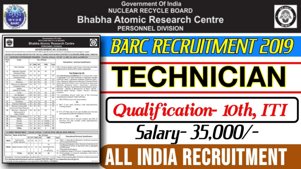 Bhabha Atomic Research Centre recruitment 2019