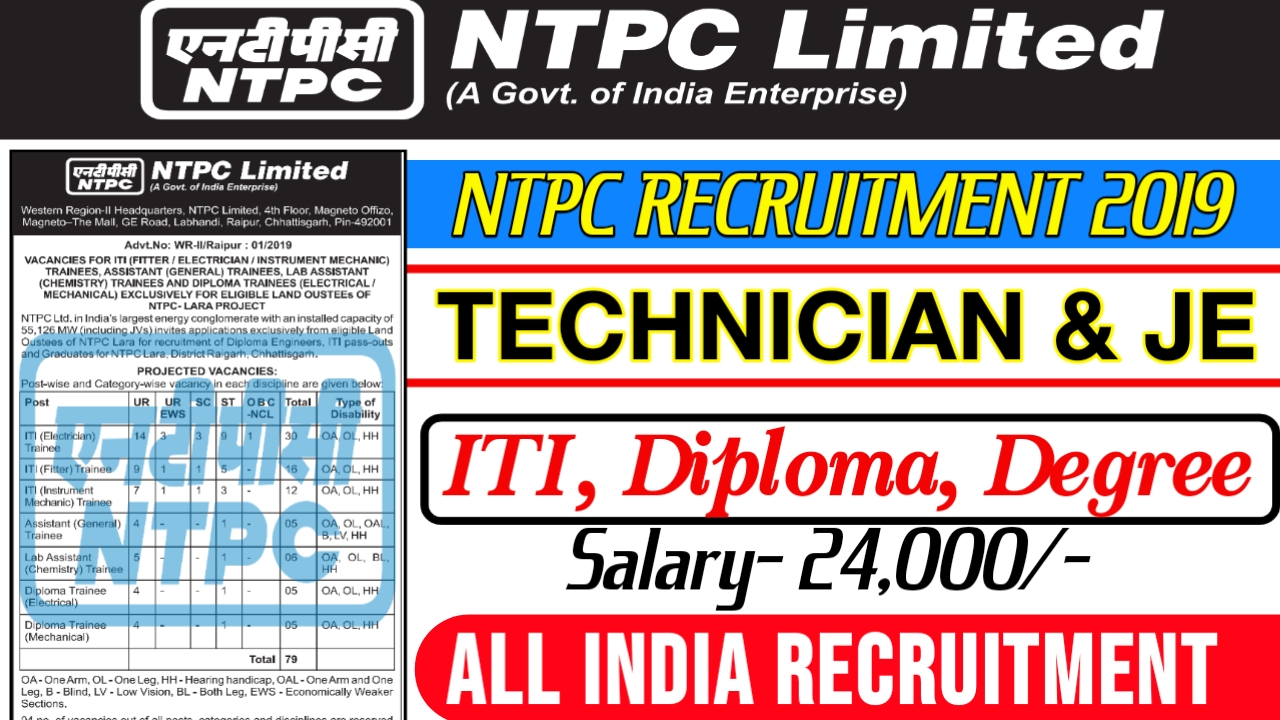 NTPC Recruitment for ITI & Diploma Trainees – Post 79 – Last DAte 31 August 2019