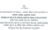 Last 5 Year ISRO SDSC SHAR Technical Assistant Previous year Question Paper pdf file download