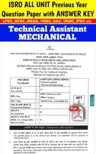 ISRO All Unit Technical Assistant Mechanical Question Paper With Answer Key