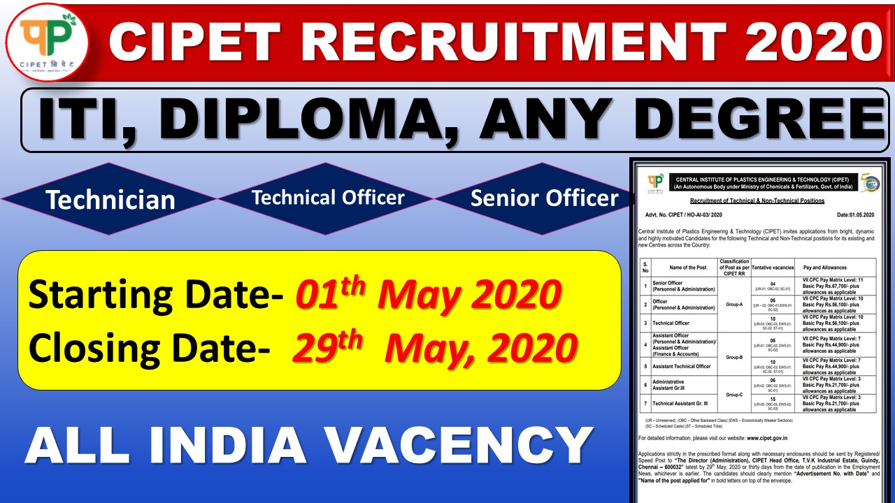 CIPET Recruitment 2020 || CIPET Recruitment of Technical & Non-Technical Positions