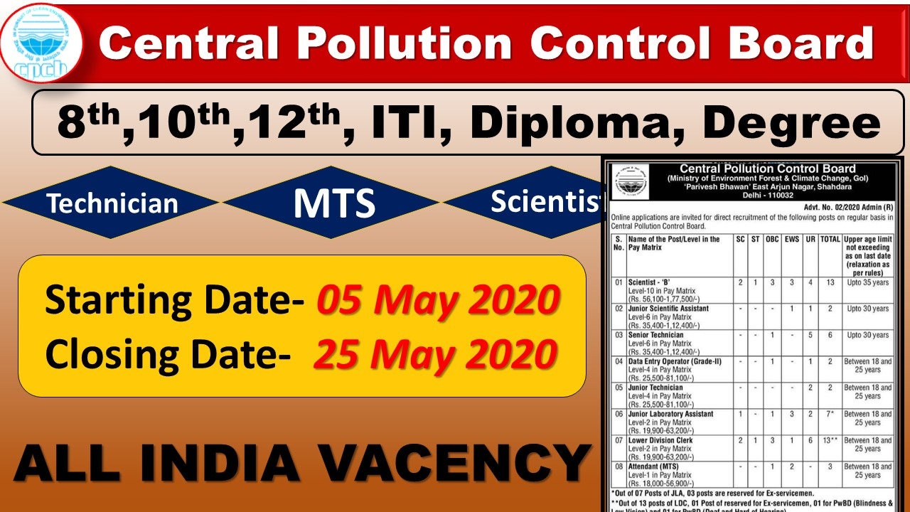 CPCB Central Pollution Control Board Recruitment 2020 for 48 Scientist B, LDC, Technician & Other Posts