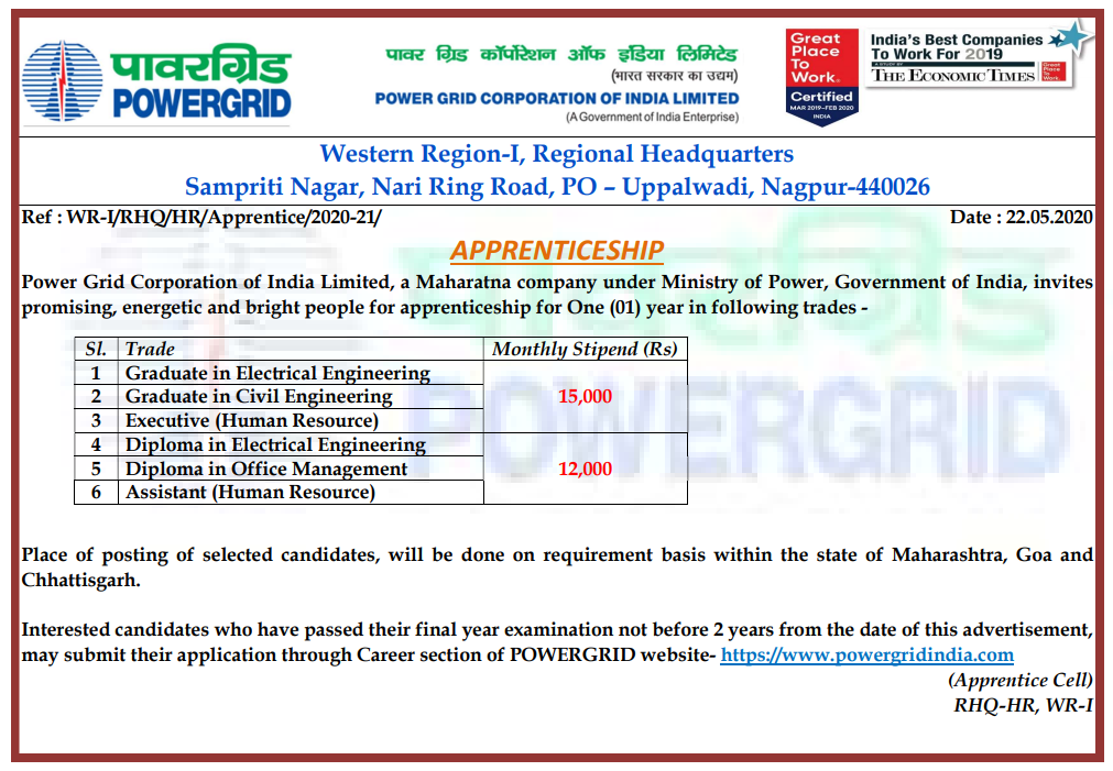 PGCIL Power Grid Corporation Recruitment 2020 for Apprentice Diploma, & B-tech