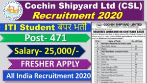 Cochin Shipyard Ltd (CSL) Recruitment 2020 of 471 Vacancies for Workman Posts