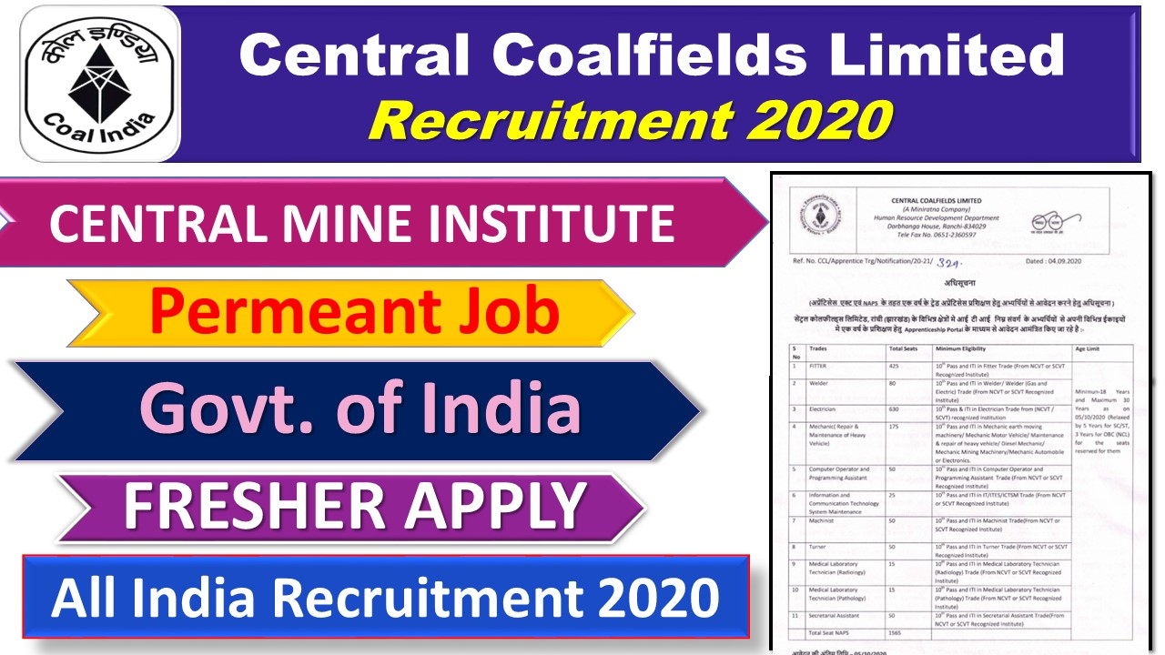 CIL-Coal India Recruitment 2020 || CENTRAL MINE PLANNING AND DESIGN INSTITUTE LIMITED Recruitment 2020